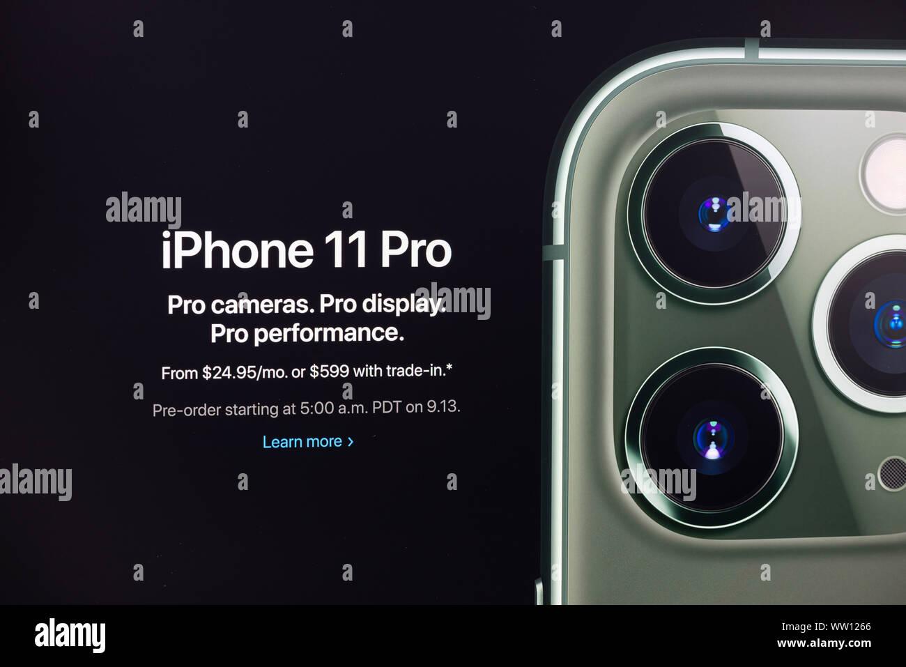 Un coup de feu sur le site apple.com Apple Inc. a officiellement annoncé l'iPhone à Apple Pro 11 Événement spécial. Banque D'Images