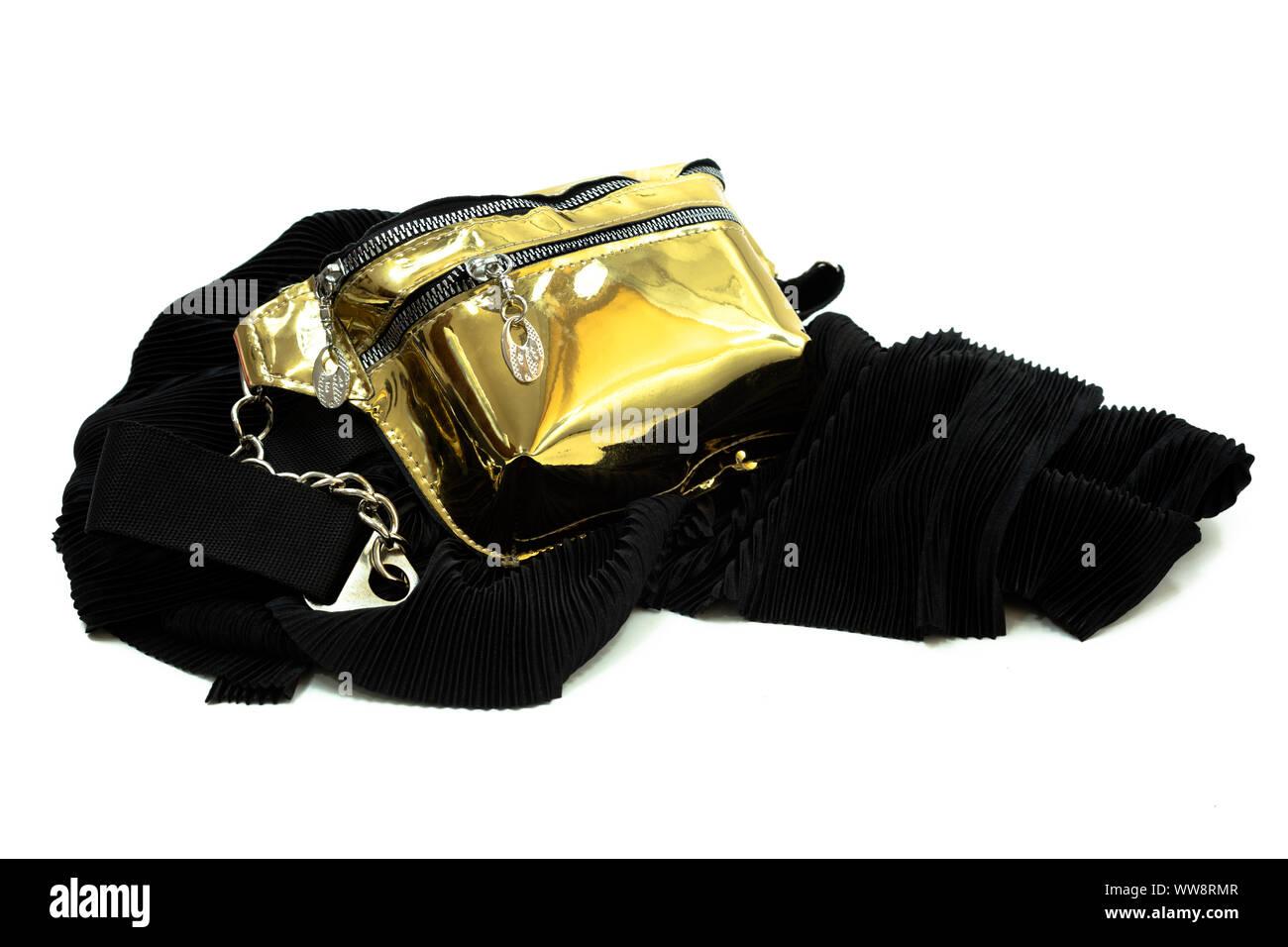 professionnel nouvelles photos 60% pas cher Voyage sac ceinture brillante d'or pour les femmes sur une ...