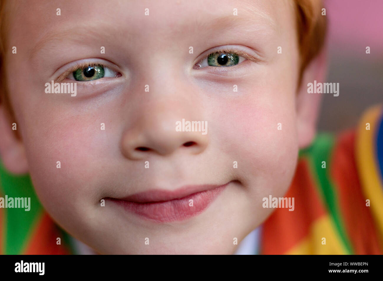 Gros plan du beau garçon des yeux. Portrait enfant aux yeux verts à directement à l'appareil photo. Drôle de petit enfant avec des cheveux bouclés le gingembre. Vision Banque D'Images