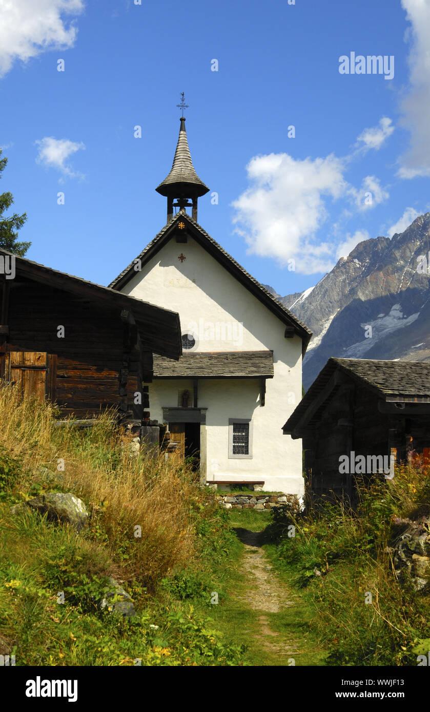 Kühmatt Chapelle, Lötschental, Suisse Banque D'Images