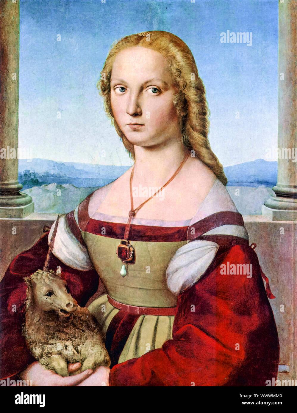 Raphaël, jeune femme avec une licorne, peinture, 1505-1506 Banque D'Images