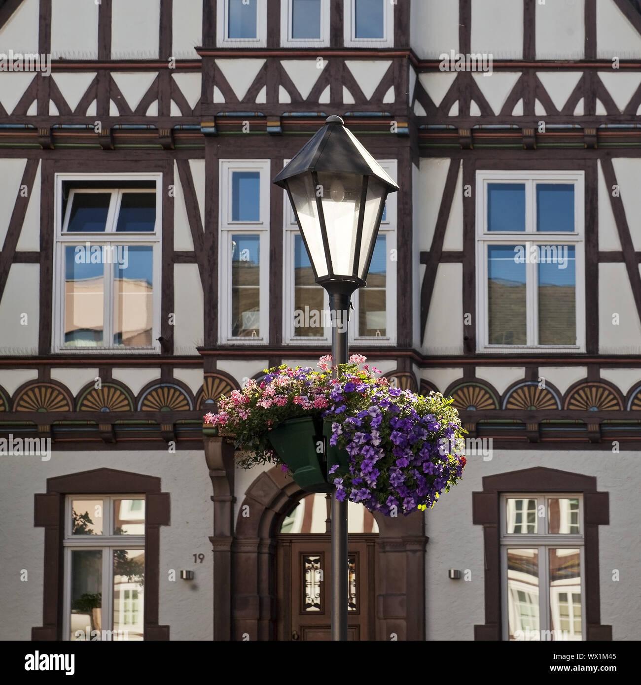 Maison à colombages historique, Vieille Ville, Hoexter, Weserbergland, à l'Est de la Westphalie, Allemagne, Europe Banque D'Images