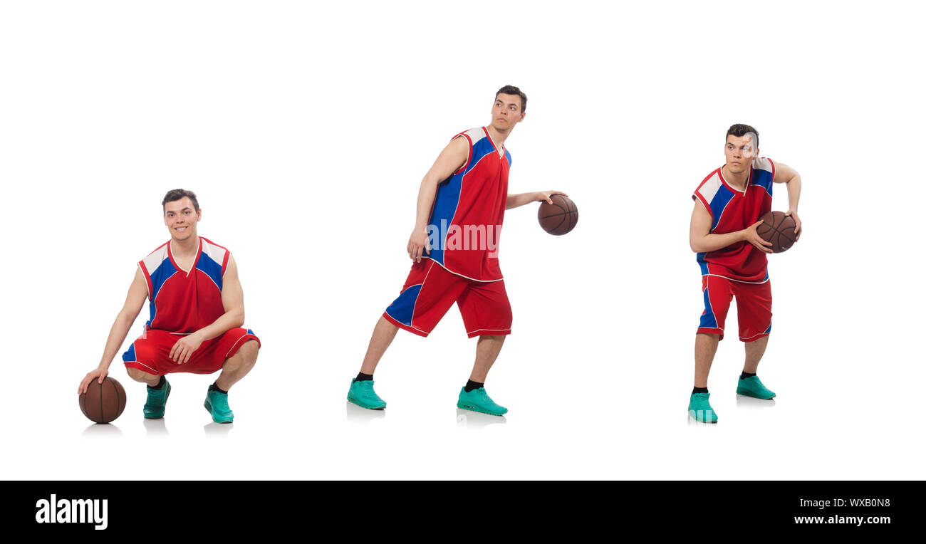 Jeune joueur de basket-ball isolated on white Banque D'Images