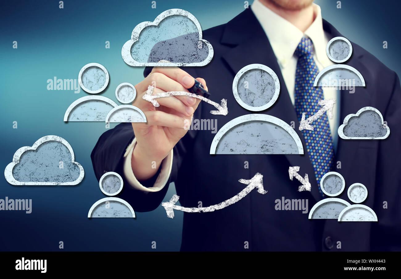 Les concepts d'affaires avec les médias sociaux Banque D'Images