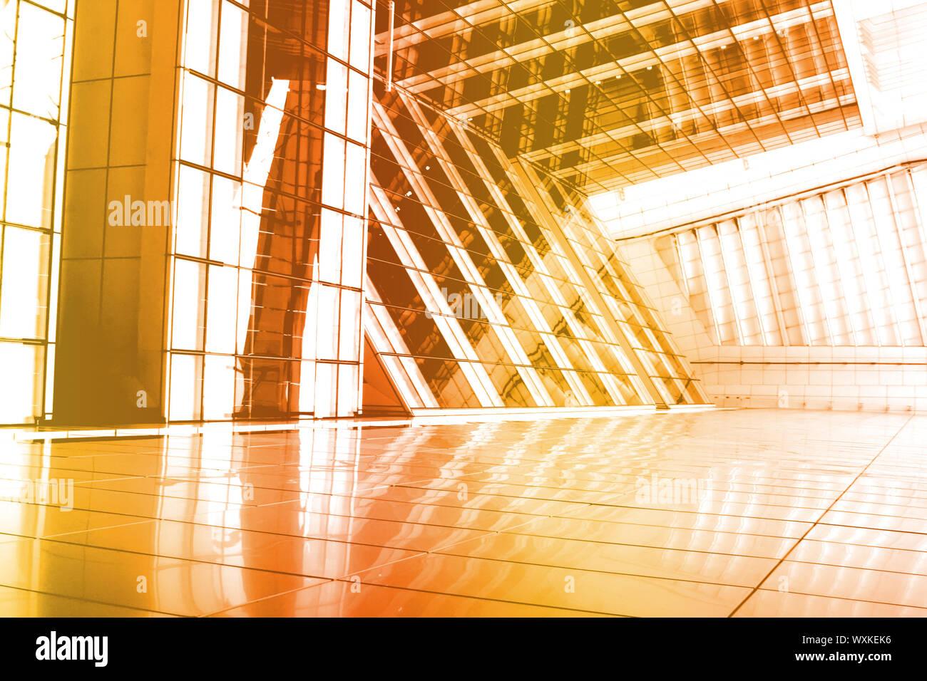 Résumé Fond orange bâtiment avec angle intéressant Banque D'Images