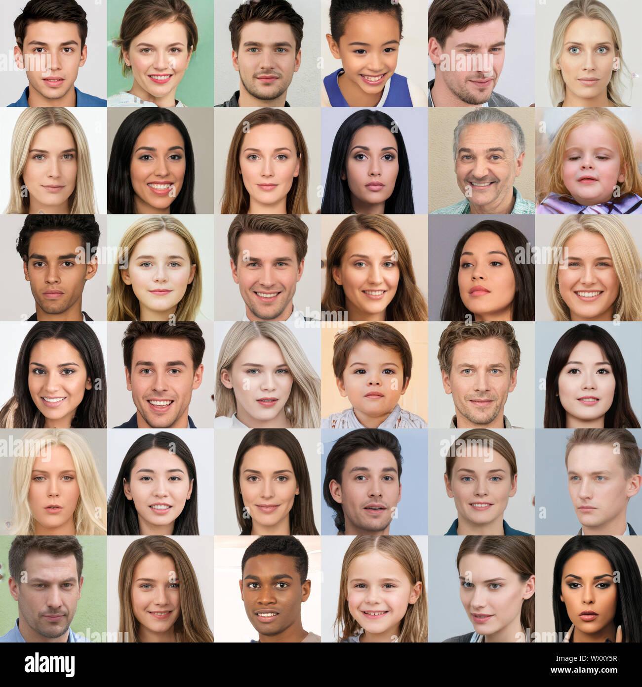 Kiev, Ukraine - le 17 septembre 2019: Collage de AI-hyperréaliste a généré des visages humains, créés par le GAN - réseau accusatoire générative Banque D'Images