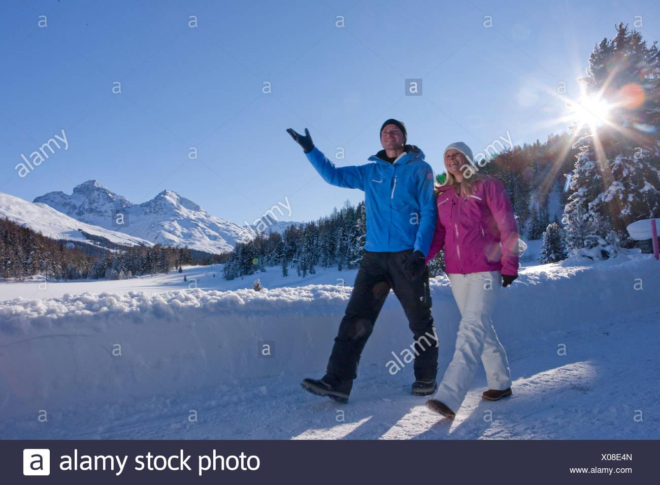 Balades d'hiver, le lac de Staz, hiver, sports d'hiver, canton, GR, Grisons, Grisons, Engadine, Engadine, Oberengadin, sentier, Wal Photo Stock