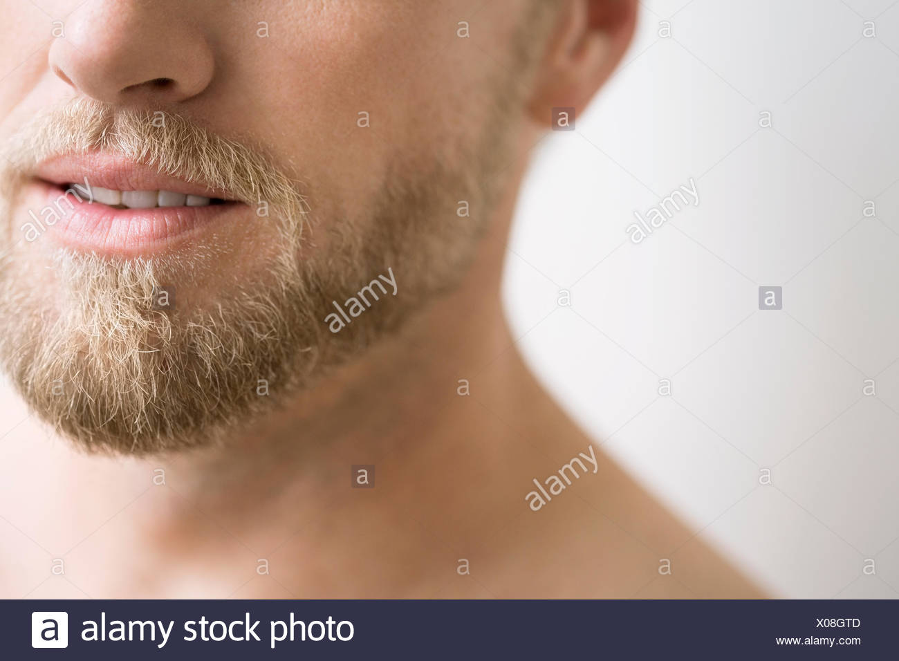 Close up of man avec barbe blonde Photo Stock