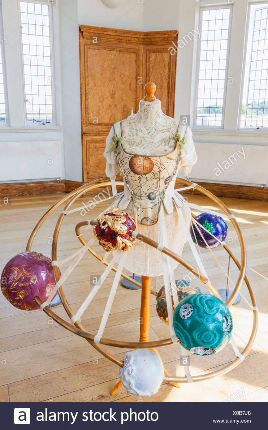 L'Angleterre, Londres, Greenwich, l'Observatoire Royal, Flamsteed House, salle octogonale, jaquette d'Orrery appartenant à des Maskelynes Margaret Photo Stock