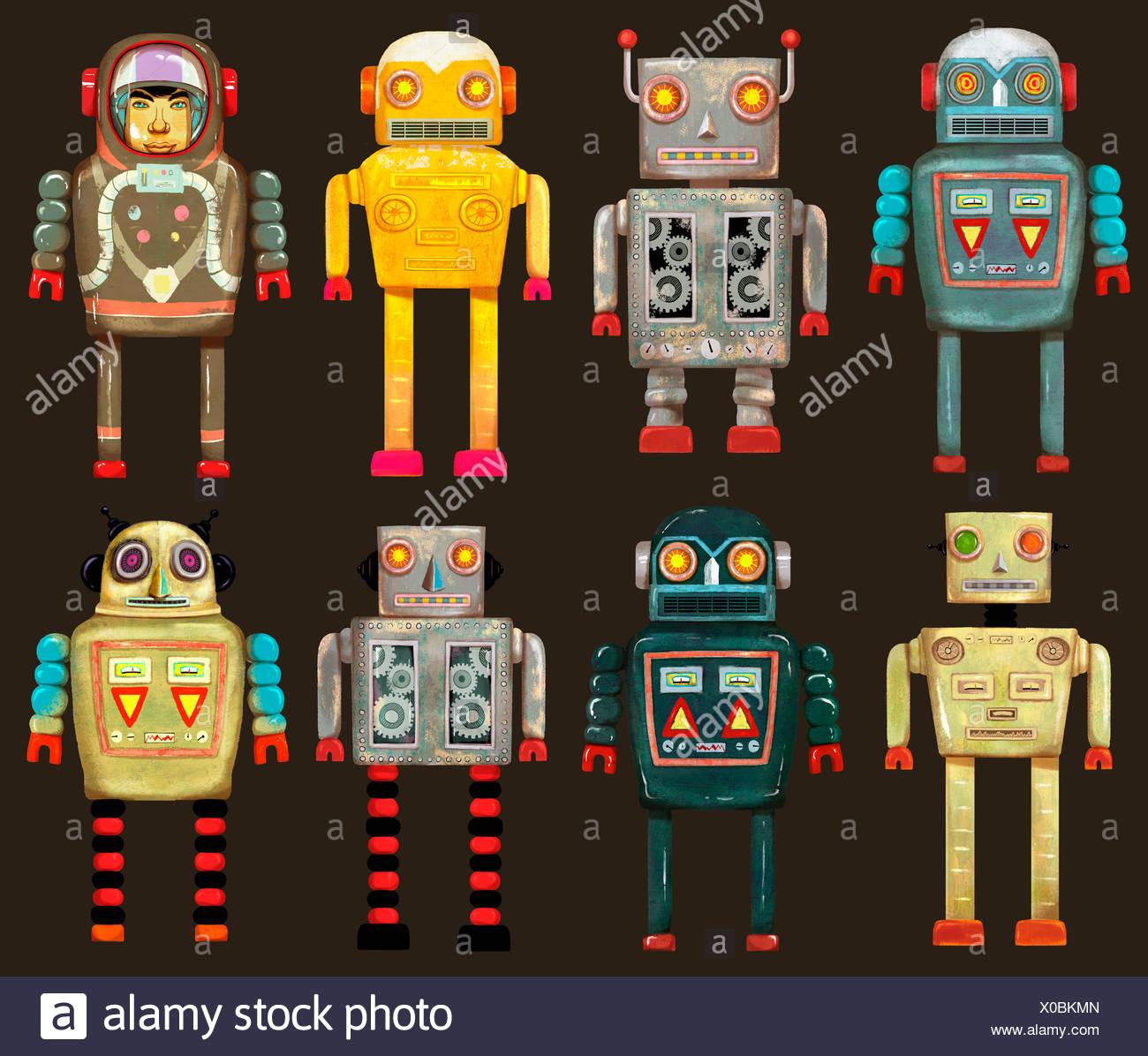 Variété de robots dans une rangée Photo Stock