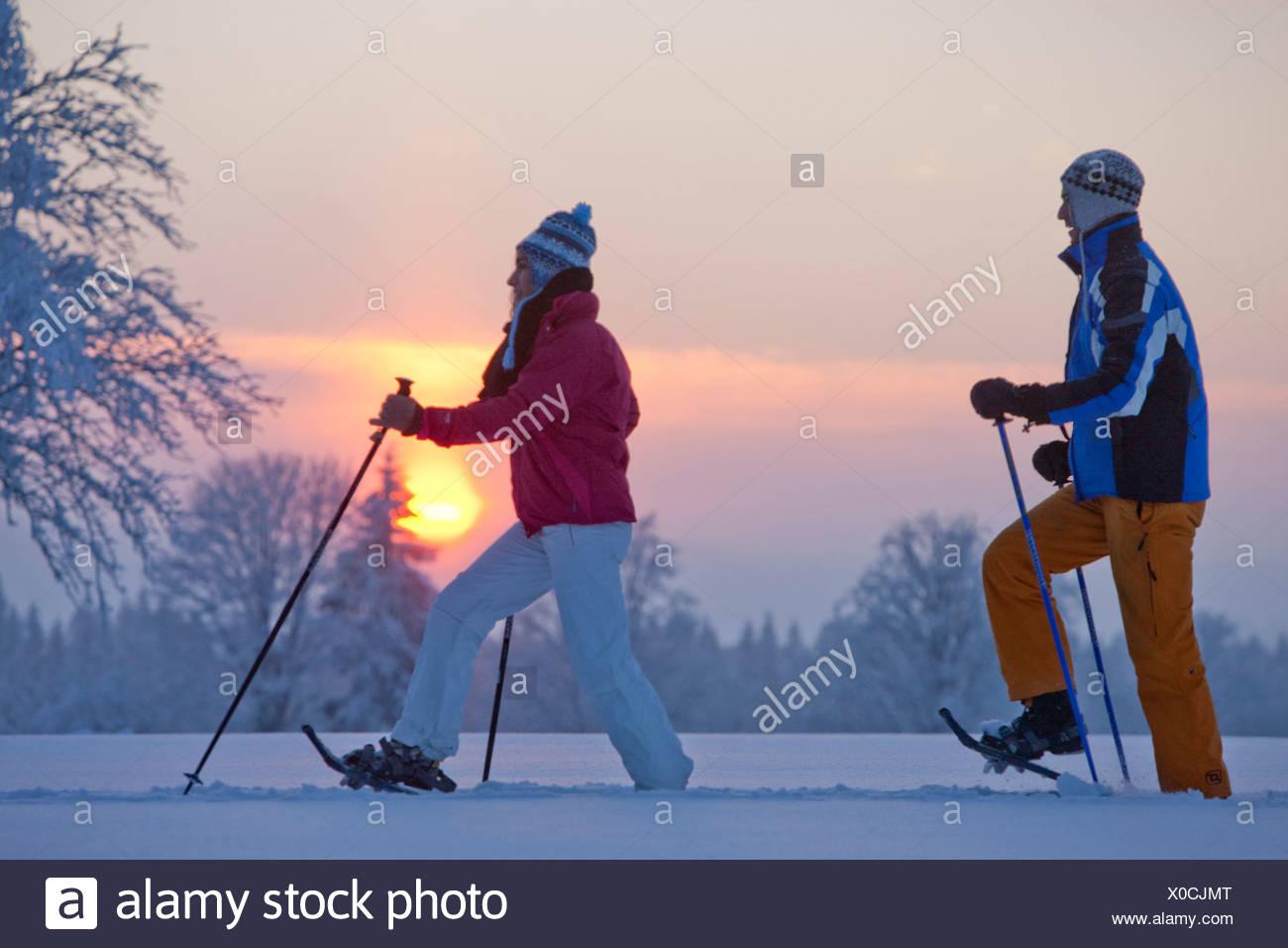 La Chaux de Breuleux, raquette, raquettes, balades, randonnées, Jura, canton, JU, chaussures de neige, neige, hiver, sports d'hiver, Switzerlan Photo Stock