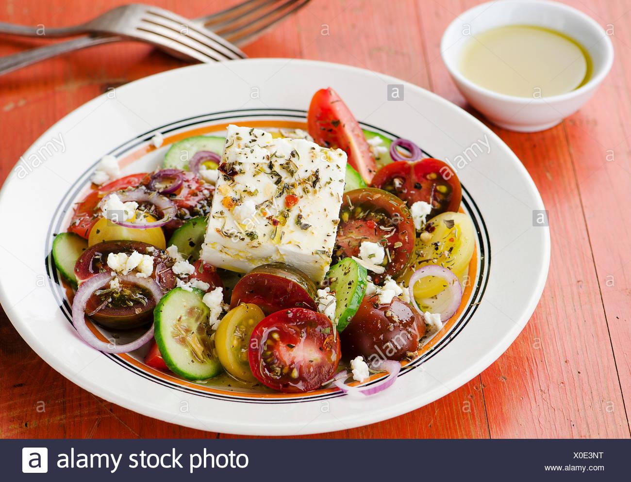 Salade grecque à la feta Banque D'Images