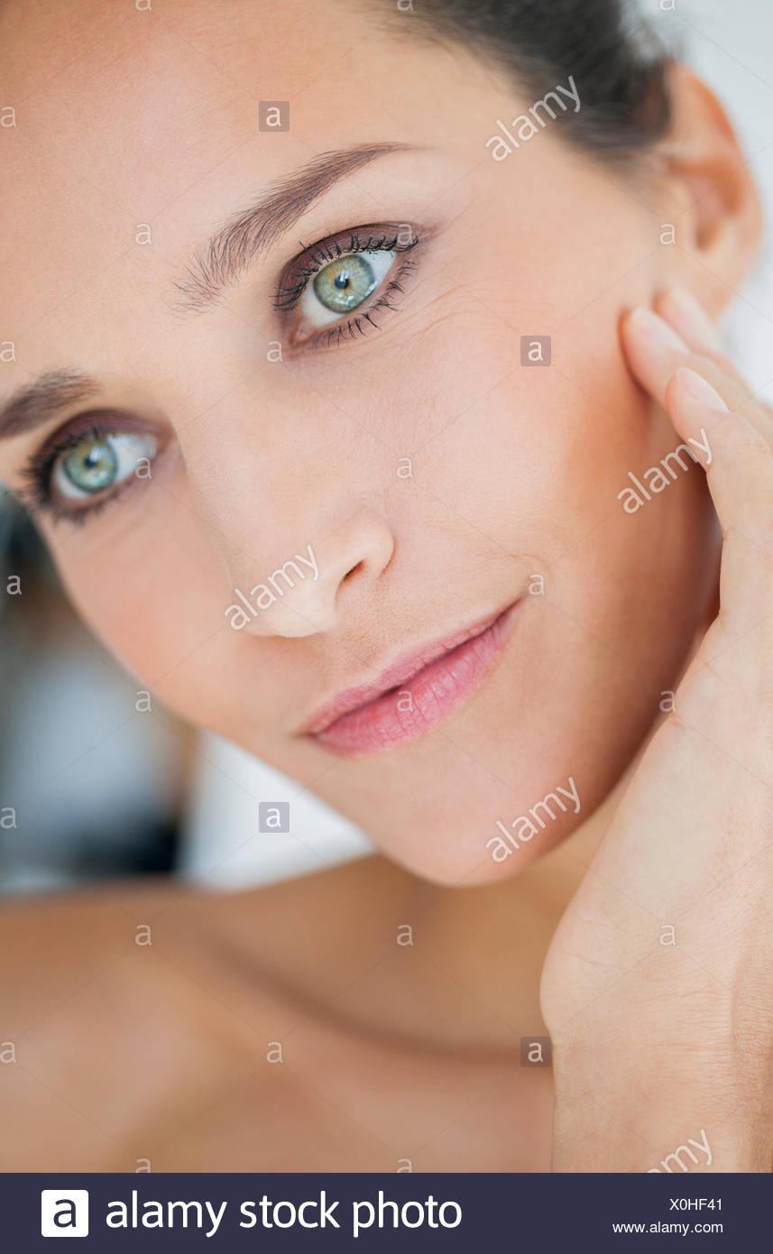 Close-up of a Beautiful woman posing Photo Stock