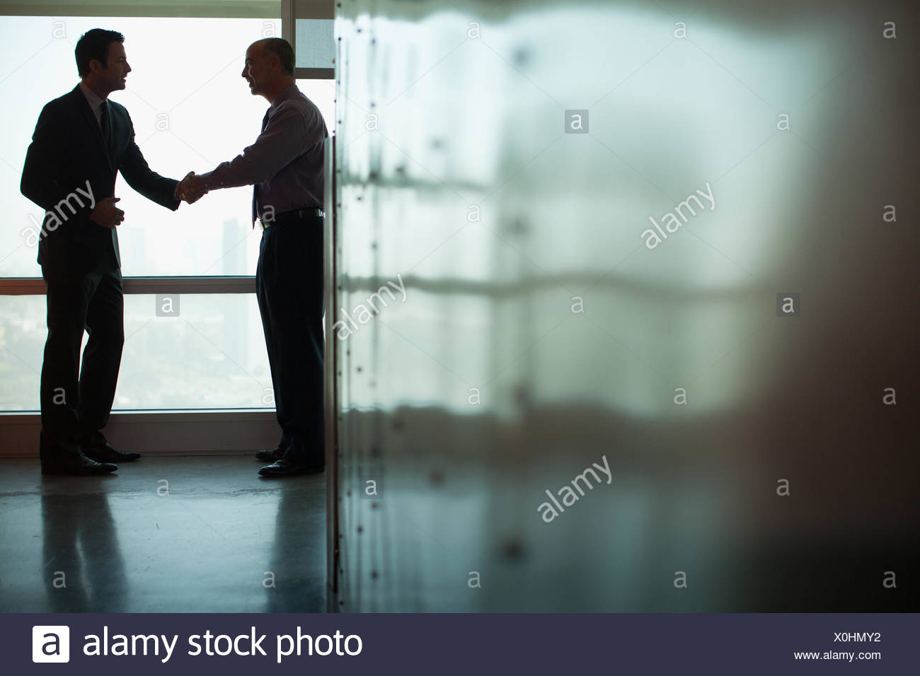 Businessmen shaking hands in office Photo Stock