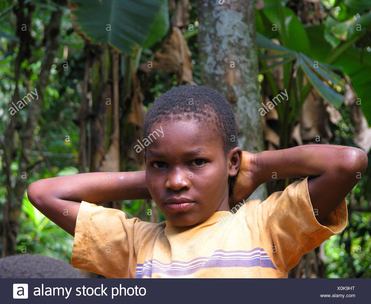 Portrait d'un petit garçon en zone rurale, Haïti, Grande Anse Photo Stock