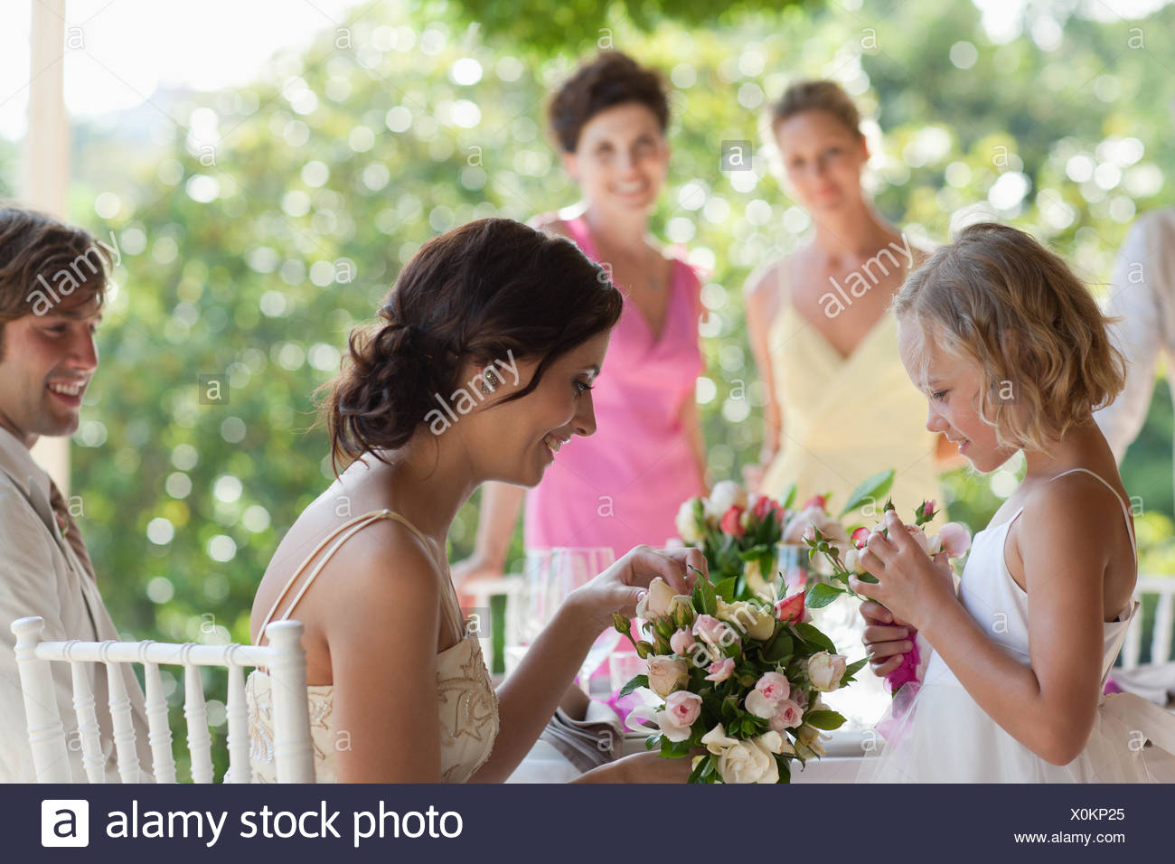 Family celebrating at wedding reception Photo Stock