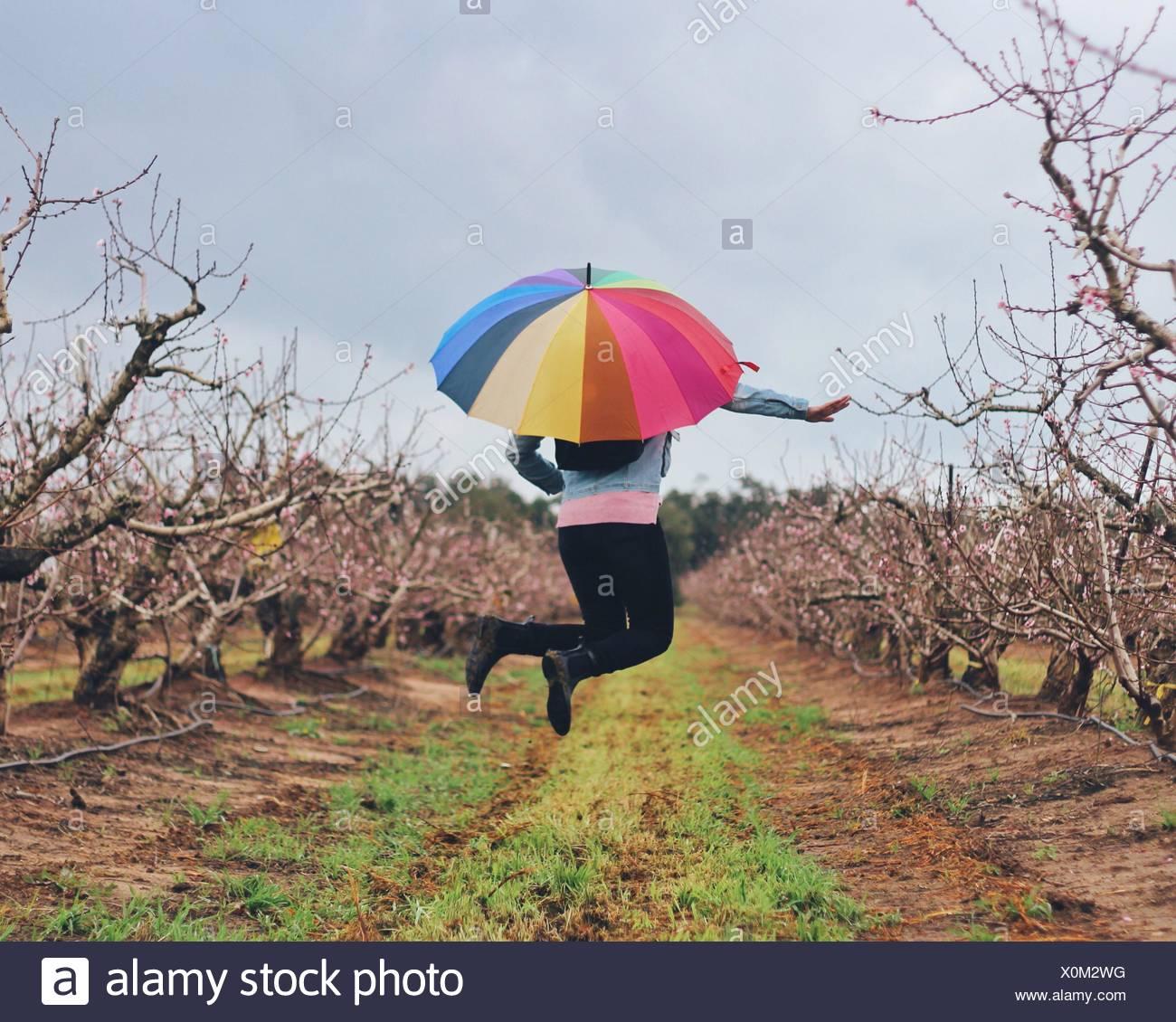 Femme avec parapluie colorés sautant par-dessus les champs contre le ciel Photo Stock