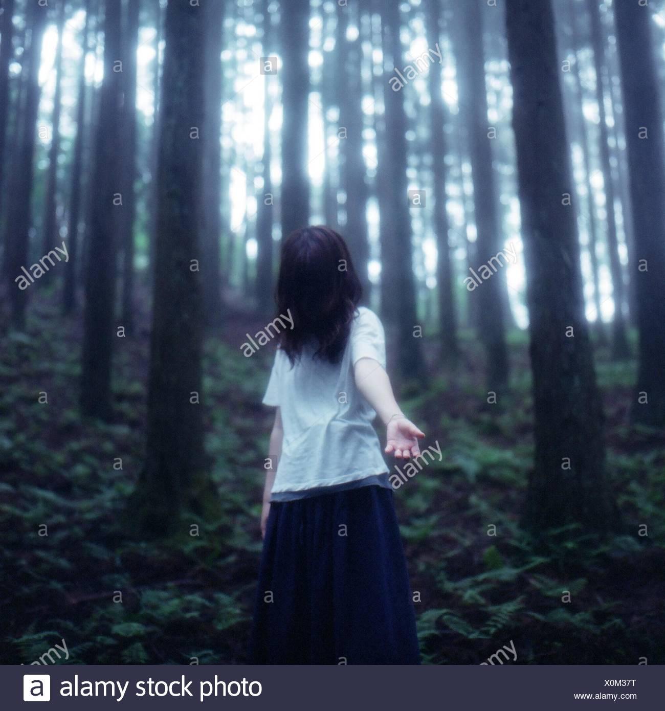 Femme seule dans la forêt Photo Stock