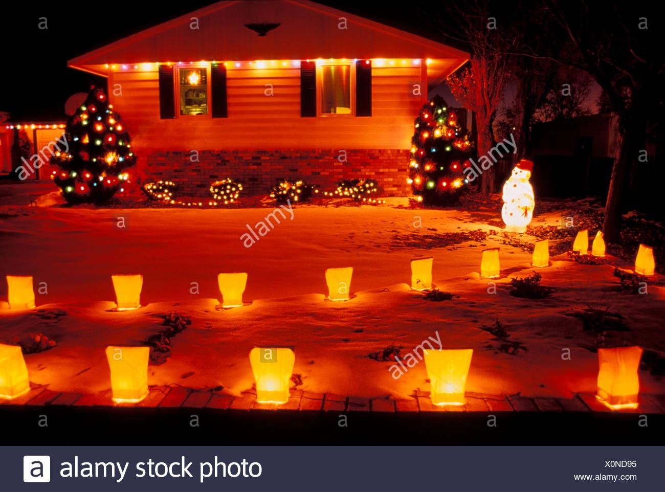 Noël, lumières, maison, décoration, luminaires, New Mexico