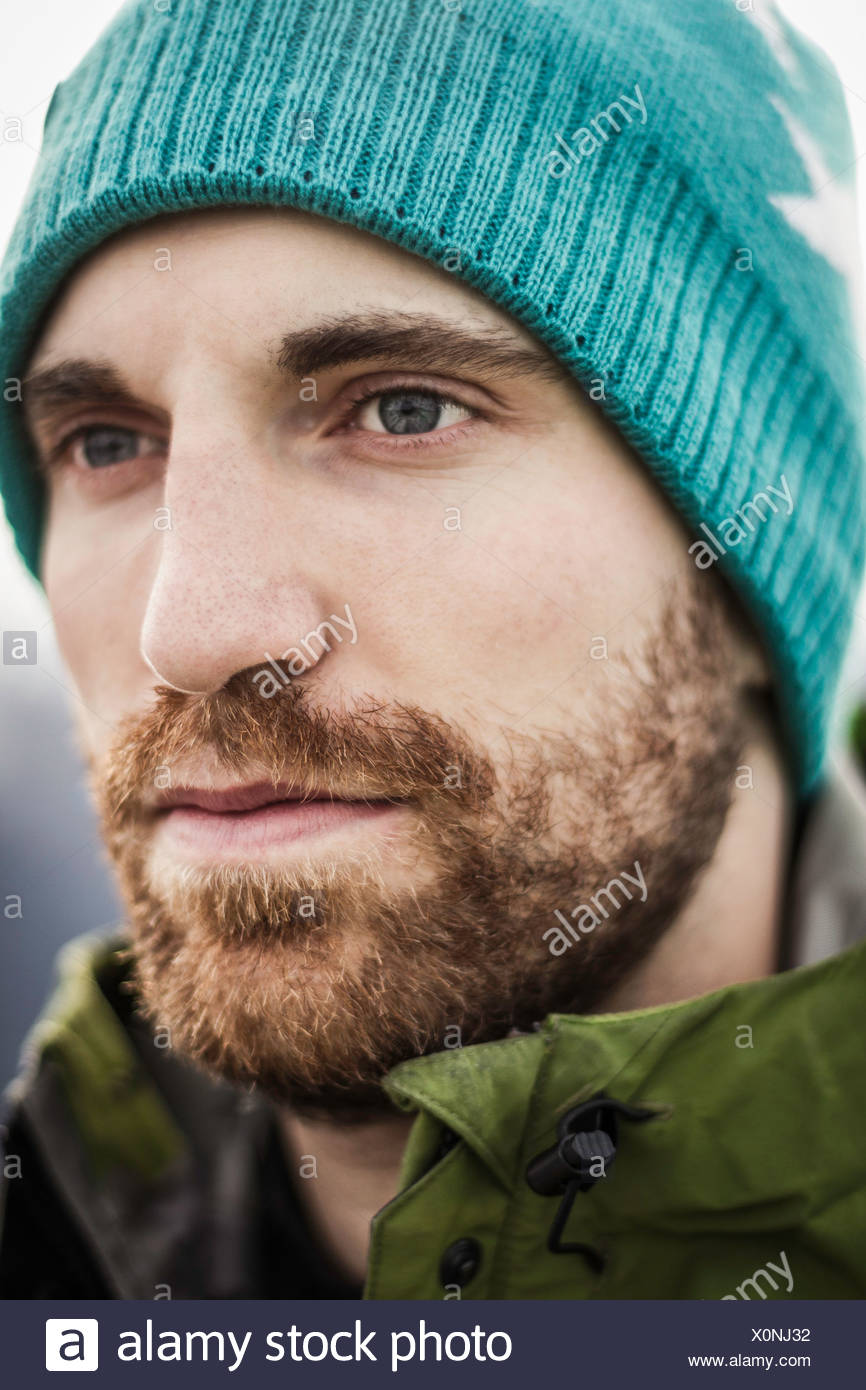 Close up of mans visage sérieux Photo Stock