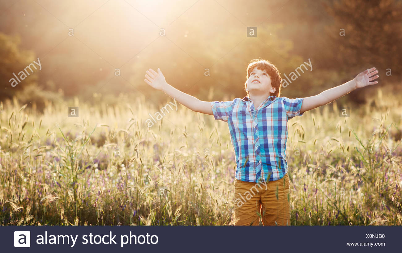 Boy (8-9) dans la région de meadow with arms outstretched looking up Photo Stock