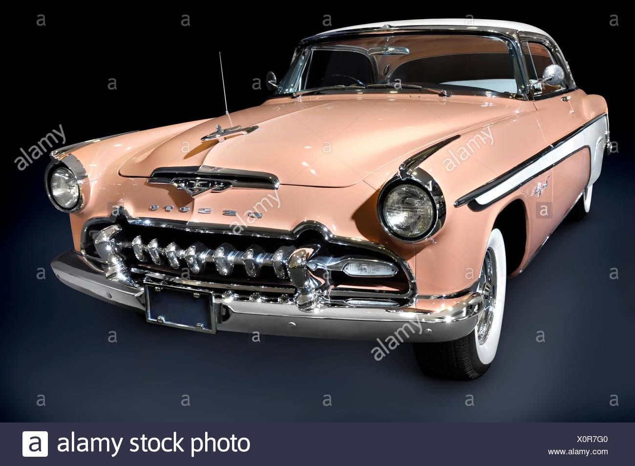 DeSoto Fireflite Sportsman blanc rose 1955 voiture rétro classique Photo Stock