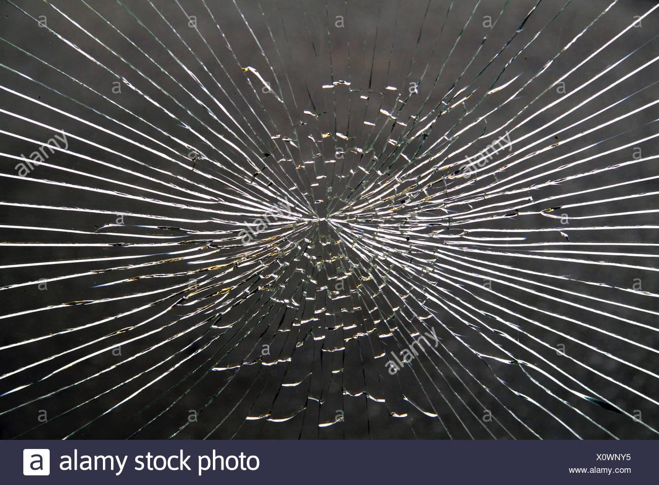 Bris de verre causés par le vandalisme Photo Stock