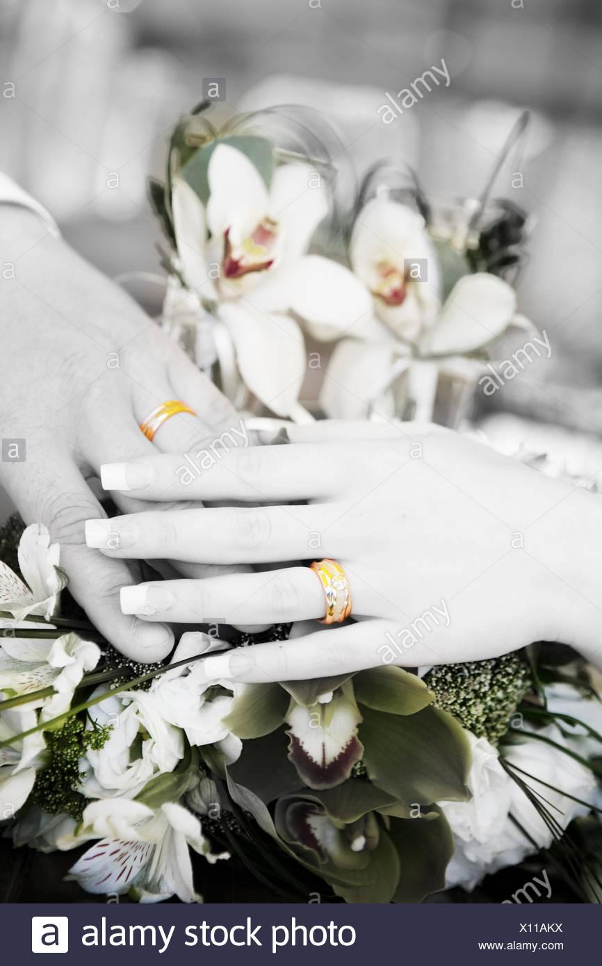 Deux Mains Avec Les Anneaux De Mariage En Noir Et Blanc