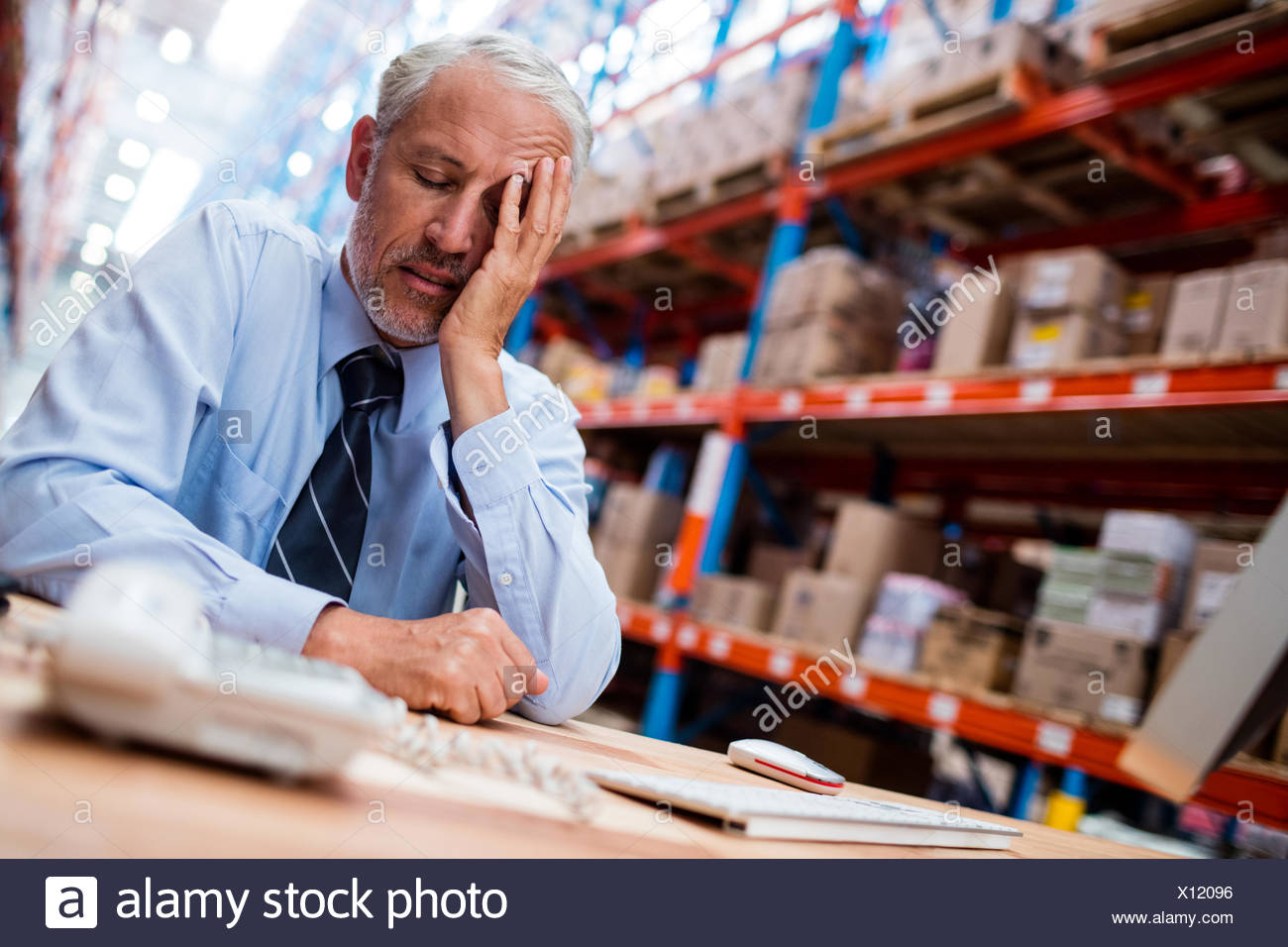 Anxieux warehouse manager Photo Stock