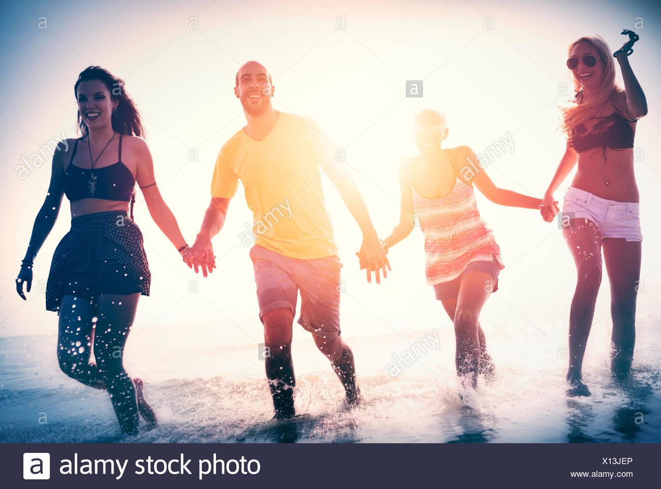 La liberté d'amitié Beach Des vacances Concept Photo Stock