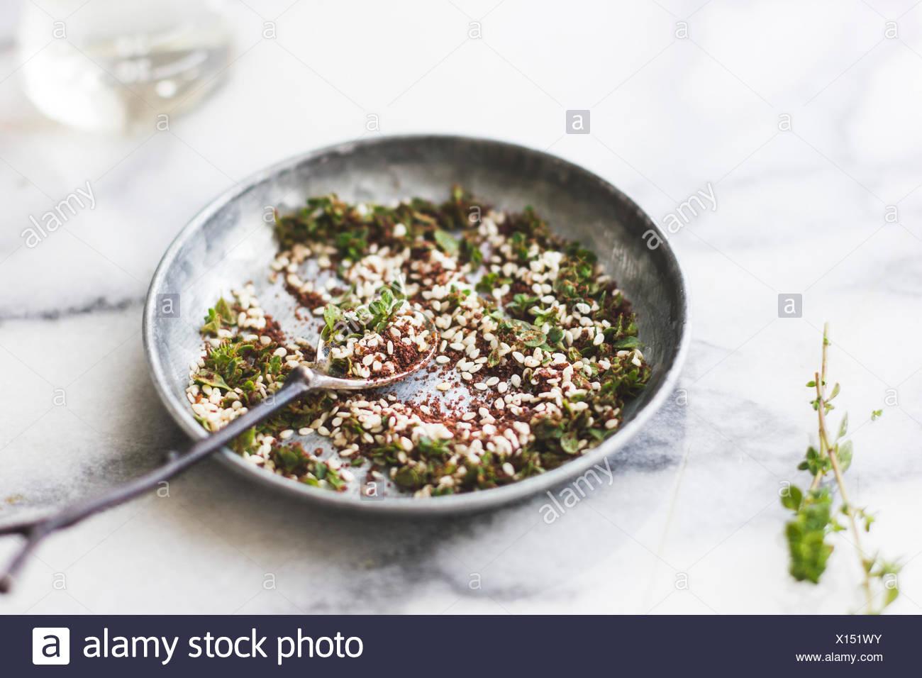 Les herbes du Moyen Orient, appelé za'atar Photo Stock