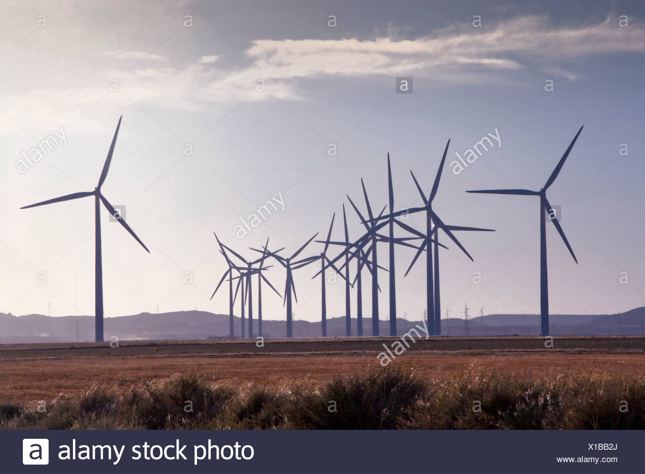 L'Espagne, l'Europe, Aragon, d'éoliennes, l'énergie éolienne, l'éolienne, l'énergie, à Belchite, écologique Photo Stock
