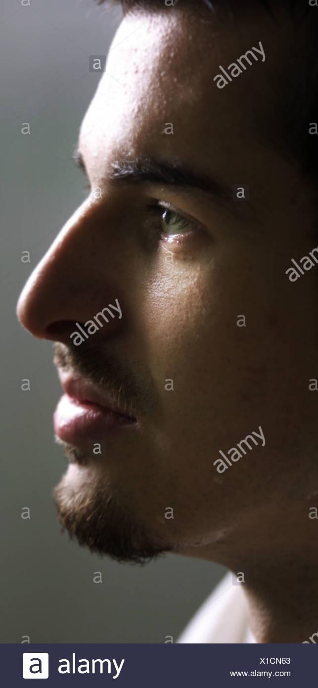 La face latérale de l'homme Photo Stock