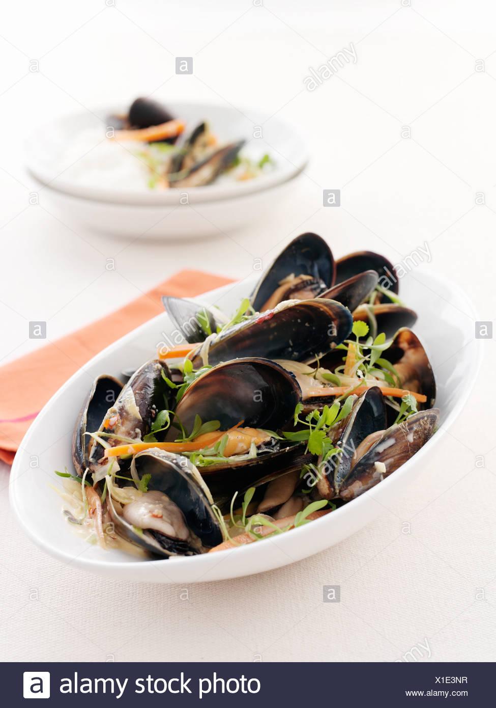Assiette de palourdes et les pâtes Photo Stock