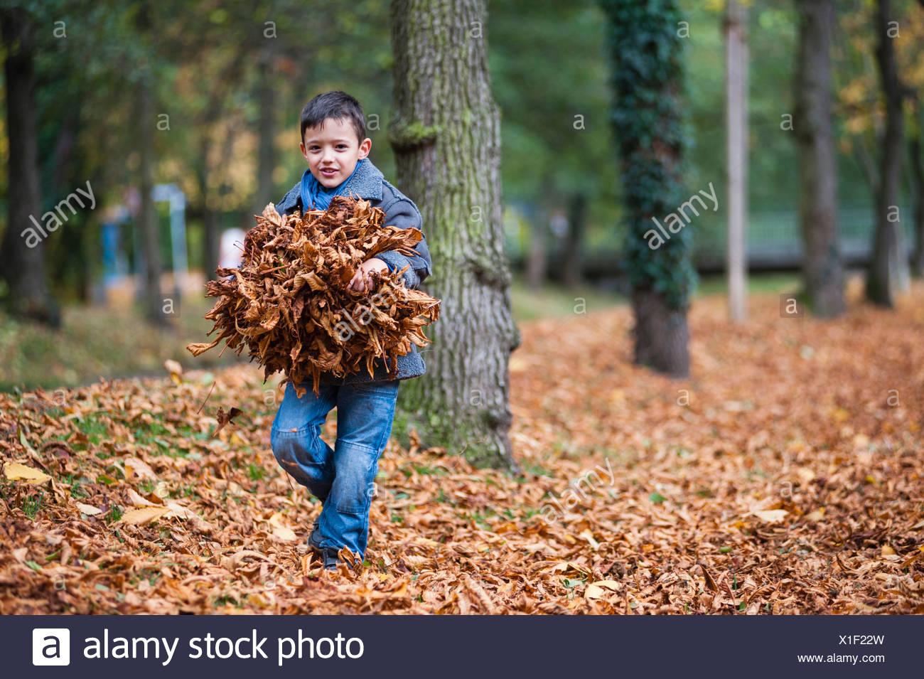 Jeune garçon exerçant son paquet de feuilles d'automne dans le parc Banque D'Images
