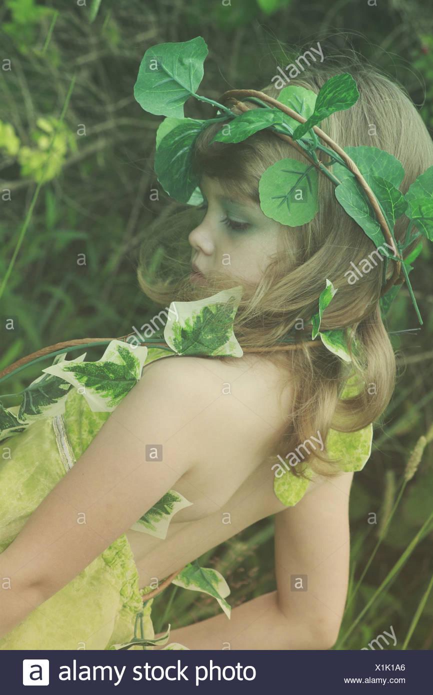 Habillé en fille Fée arbre Photo Stock