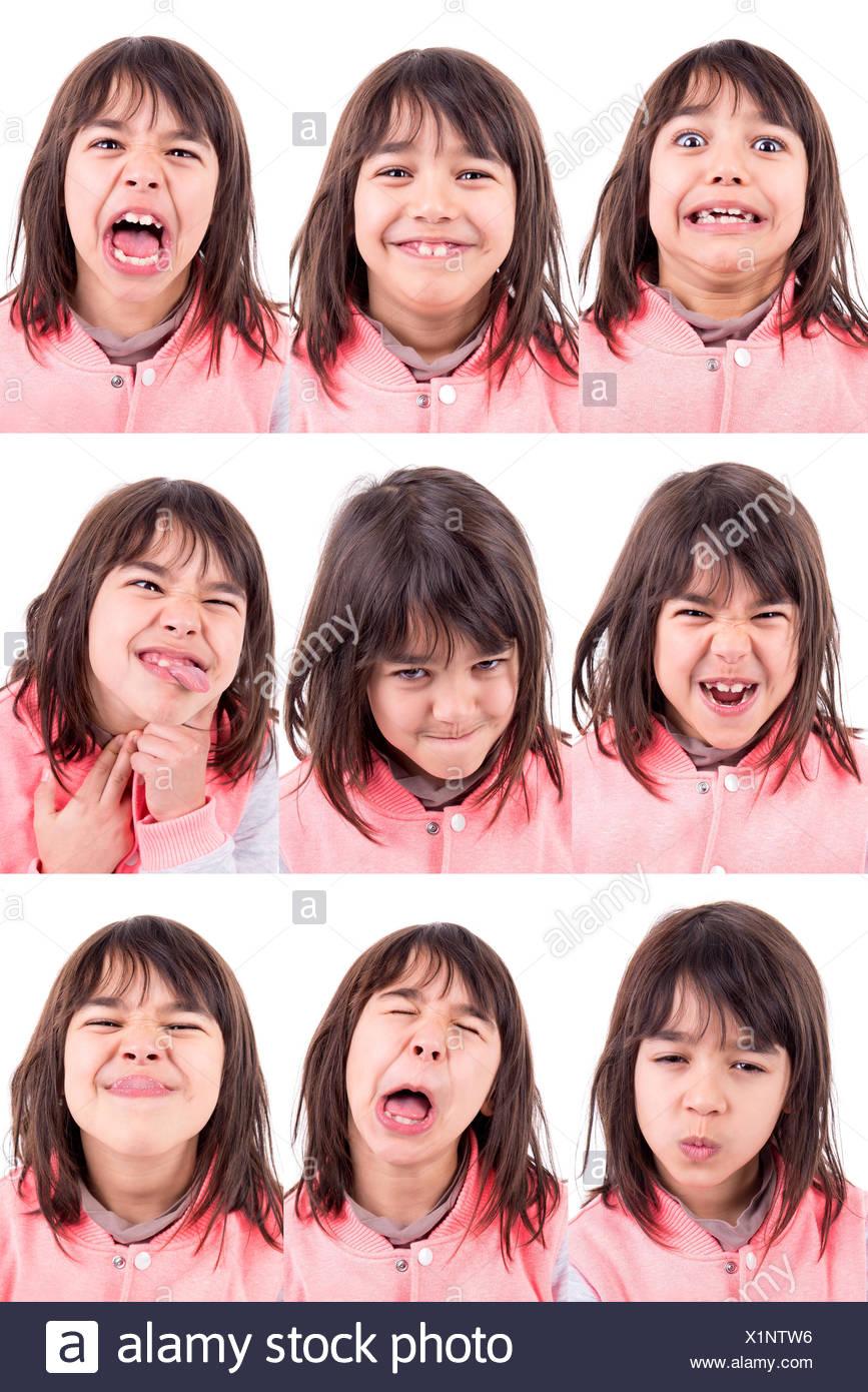 Jeune Fille Drole De Faire Plusieurs Differents Visages Isoles Dans White Photo Stock Alamy