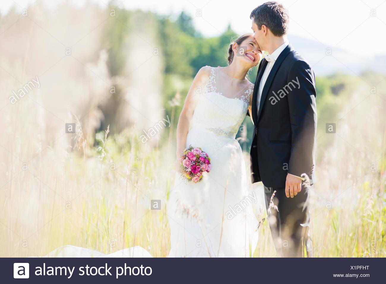Portrait de Candide époux et dans le champ Photo Stock