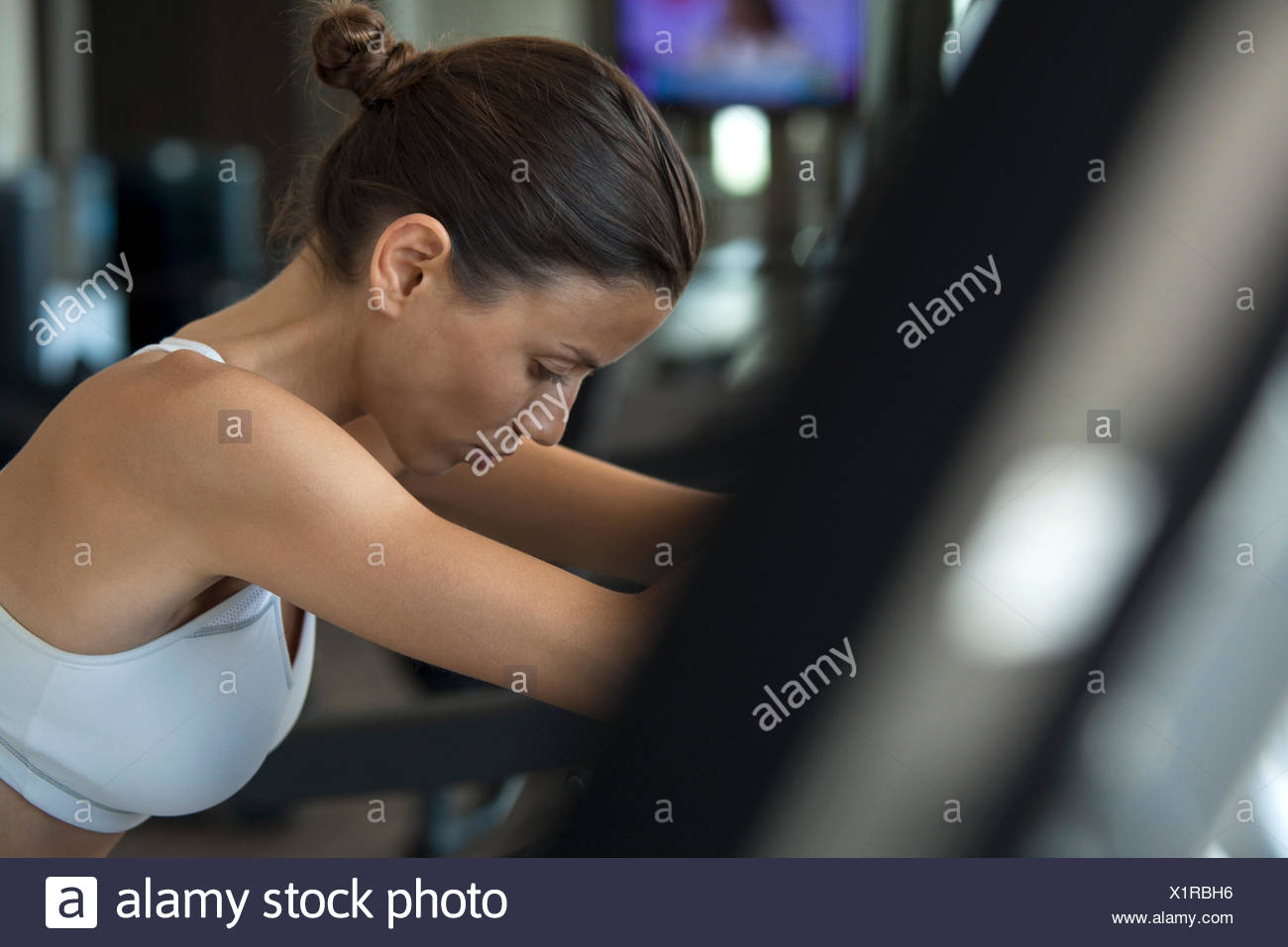 Woman in health club Photo Stock