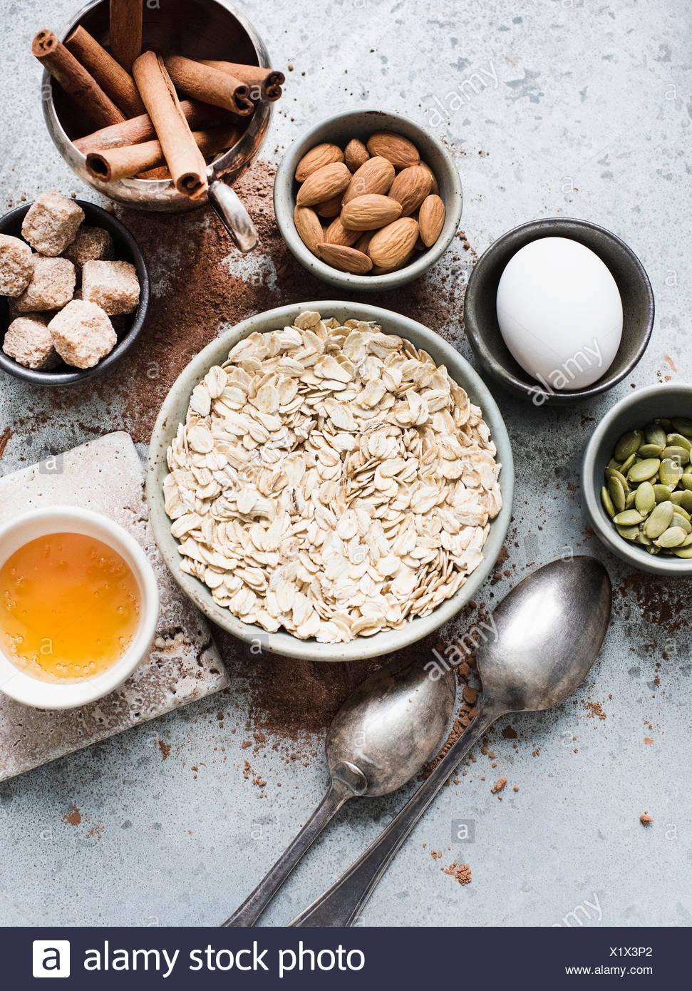 Ingrédients pour les cookies en bonne santé Photo Stock