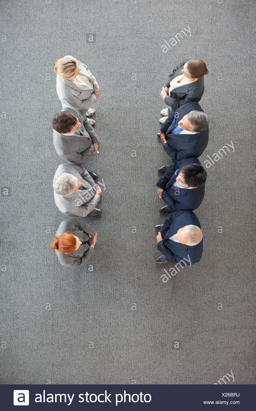 High angle view of business people in a row Photo Stock