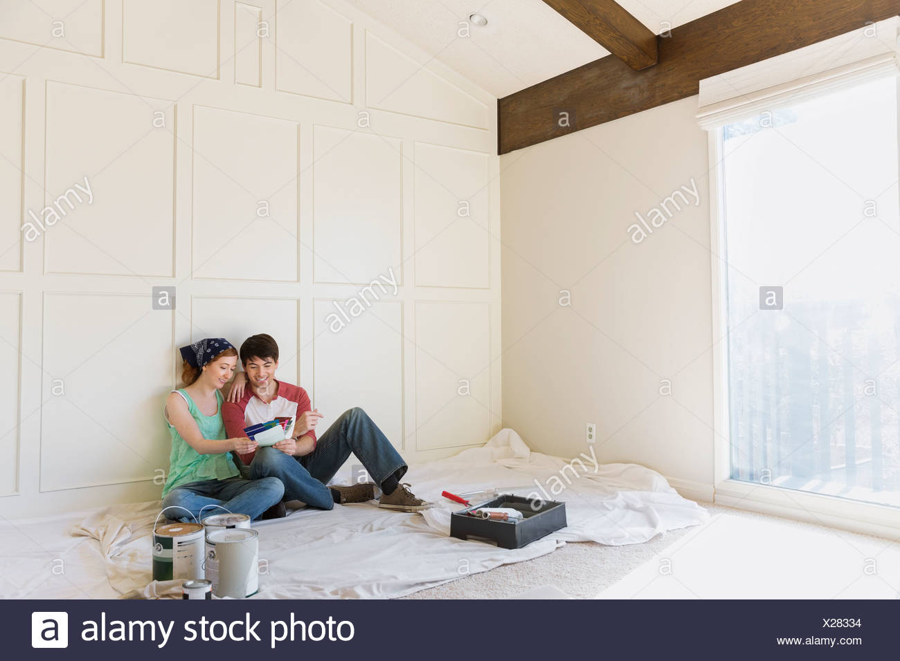 Young couple at home Photo Stock