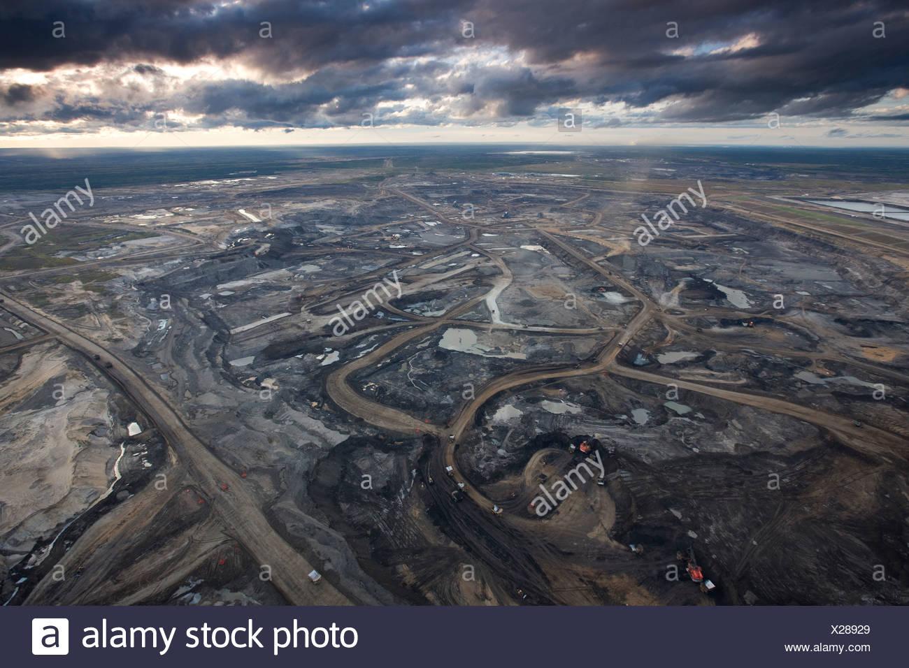 La mine de sables bitumineux Syncrude Aurora, Canada. Photo Stock