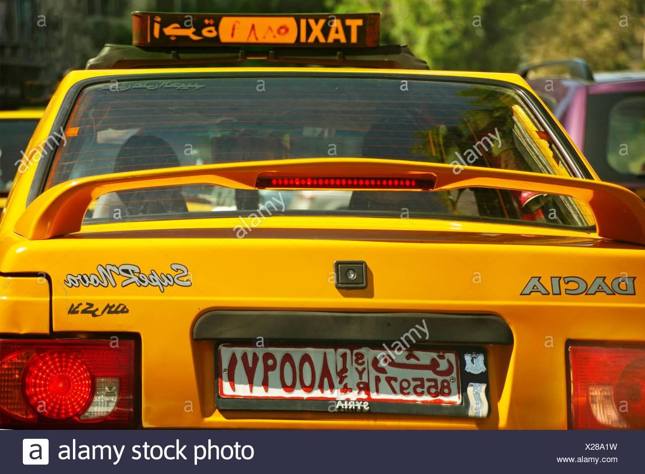 Une voiture de taxi à Damas, Syrie Photo Stock