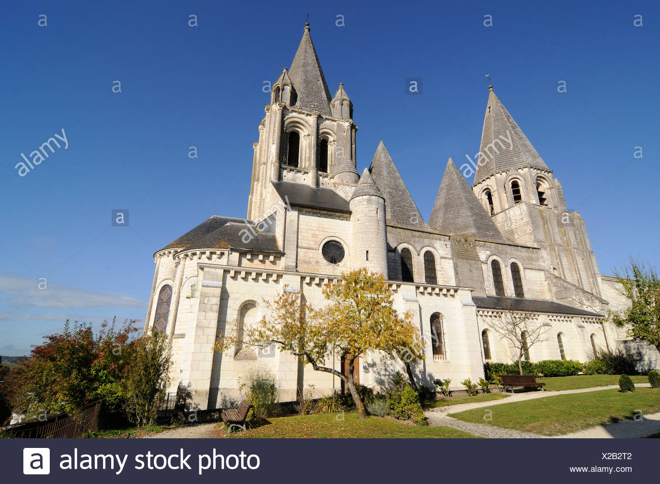 L'Église Saint-Ours, Castle Hill, Loches, communauté, Tours, Indre-et-Loire, région Centre, France, Europe Photo Stock