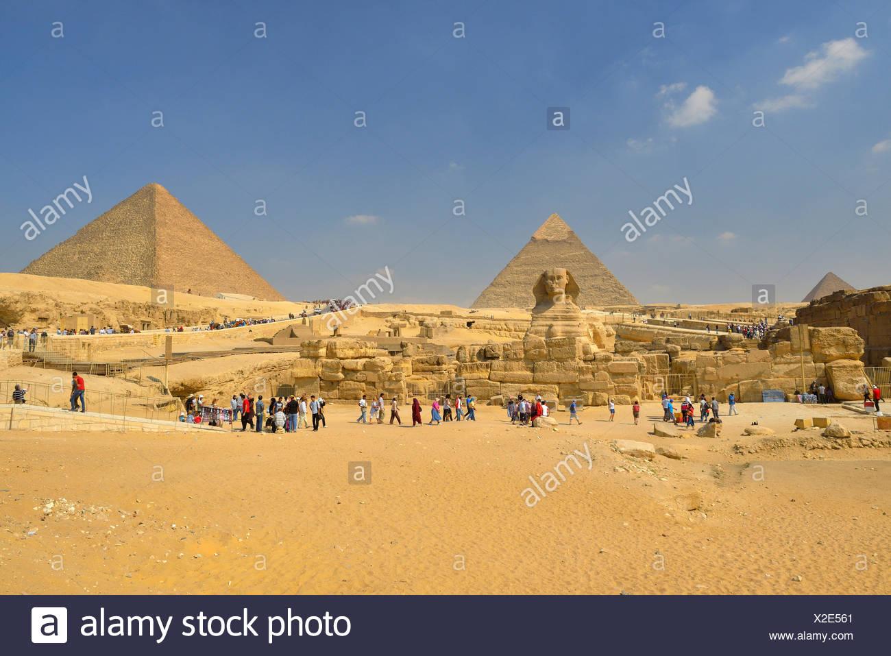 Grand Sphinx de Gizeh, pyramides de Gizeh, Le Caire, Egypte, Moyen-Orient, Afrique du Nord, Afrique Photo Stock