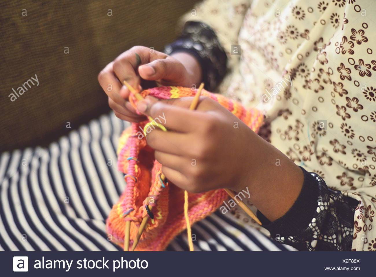 Woman's Hands Knitting Photo Stock