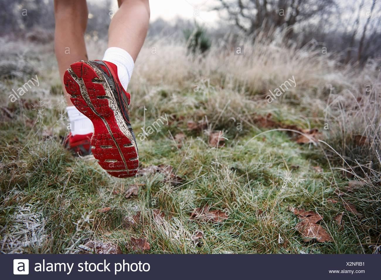 Vue arrière d'adolescents les jambes, pied, semelle de chaussure Photo Stock