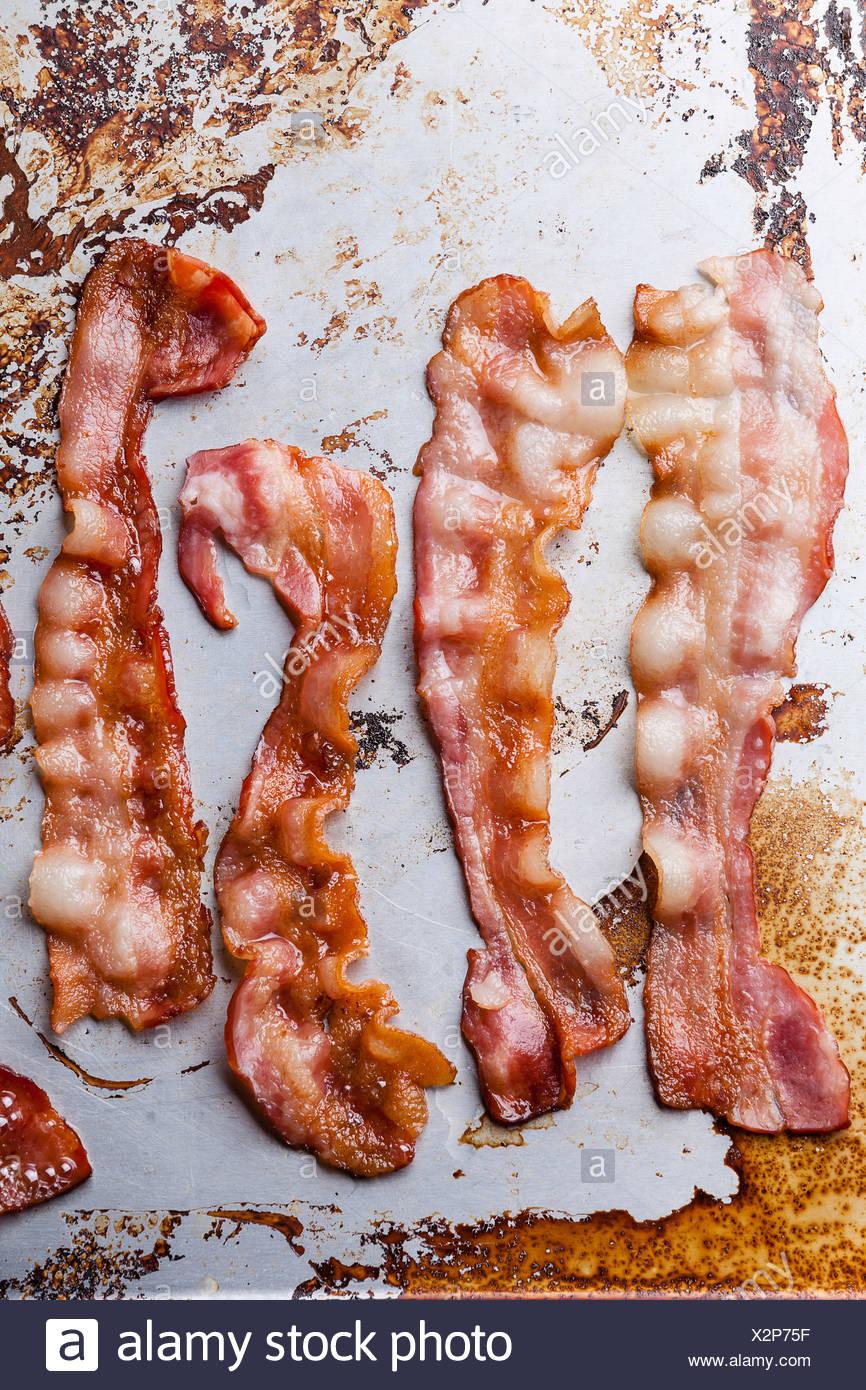 Bacon frit croustillant contexte Photo Stock