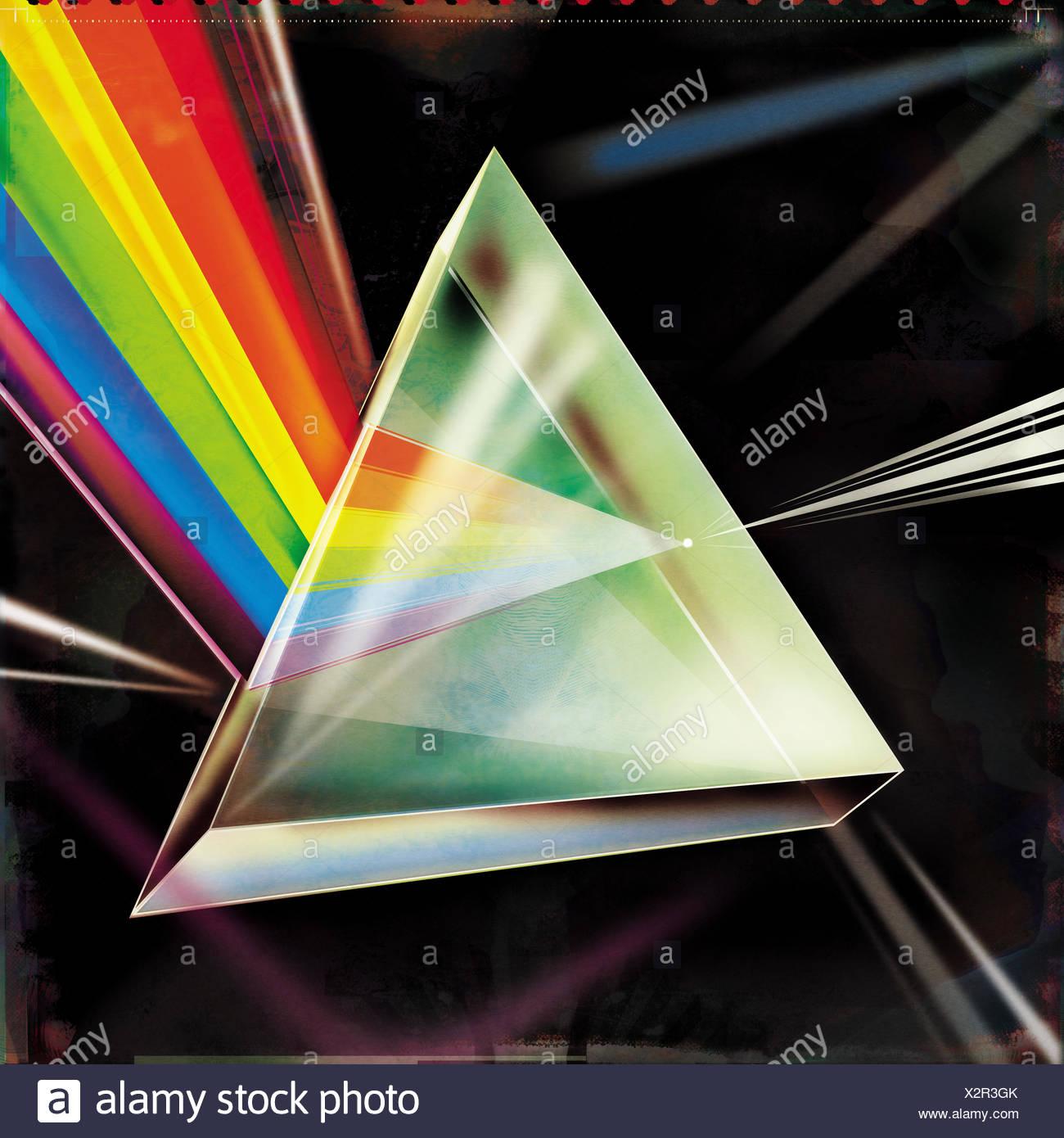 Réfractant faisceau lumineux multicolore en spectre par Prism Photo Stock